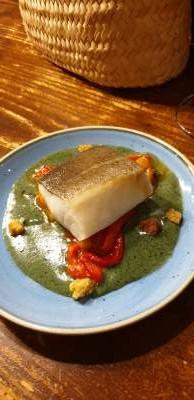 Cod with black cheese cream at Gaudeix