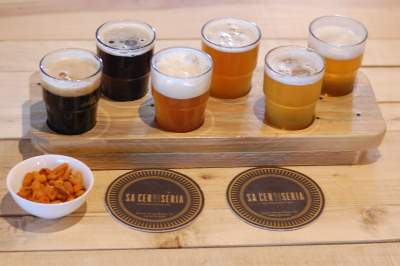 Beer samples at Sa Cerviseria